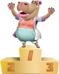 Female Hippo Cartoon Character - with Success on Top