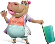 Female Hippo Cartoon Character - with Suitcase