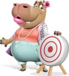 Female Hippo Cartoon Character - with Target