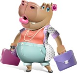Female Hippo Cartoon Character - with Two briefcases