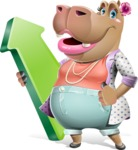 Female Hippo Cartoon Character - with Up arrow