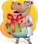 Female Hippo Cartoon Character - With Vivid Background