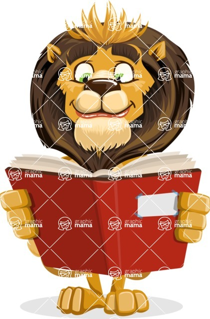 animal lion vector cartoon character pack of poses - Book 1