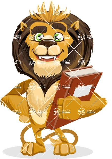 animal lion vector cartoon character pack of poses - Book 3