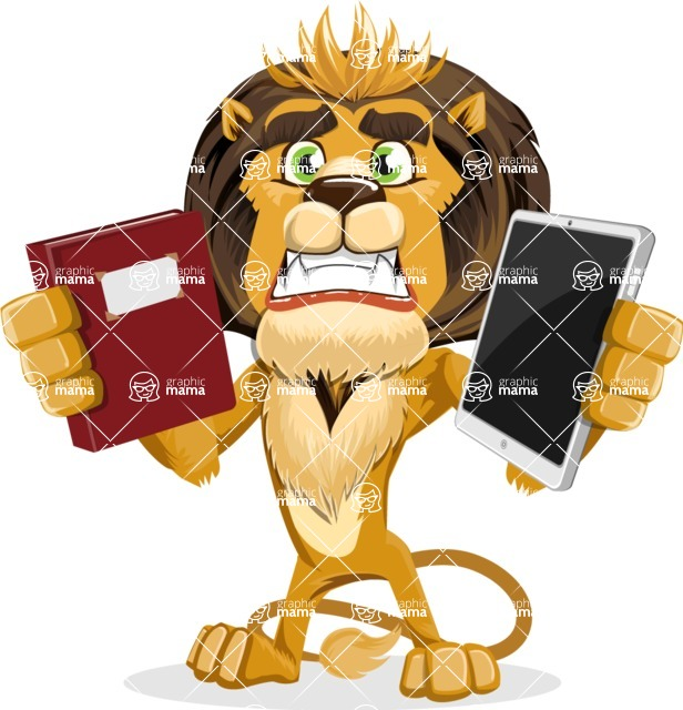 animal lion vector cartoon character pack of poses - Book and iPad