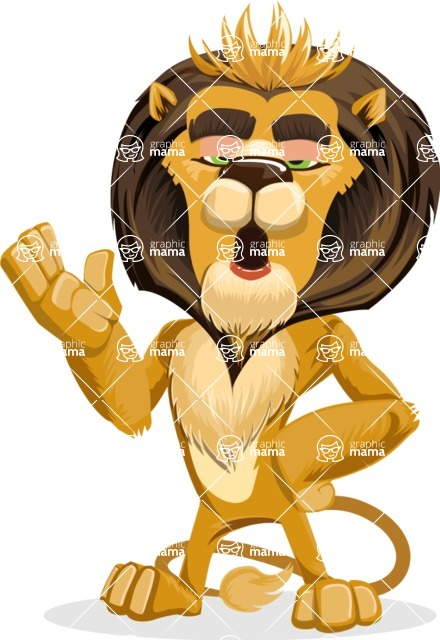 animal lion vector cartoon character pack of poses - Bored 2