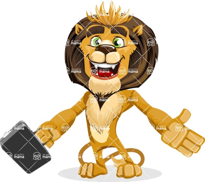 animal lion vector cartoon character pack of poses - Briefcase 1