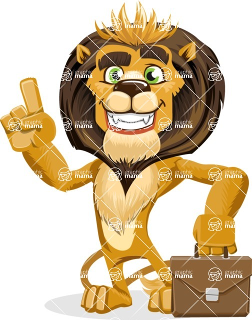 animal lion vector cartoon character pack of poses - Briefcase 2