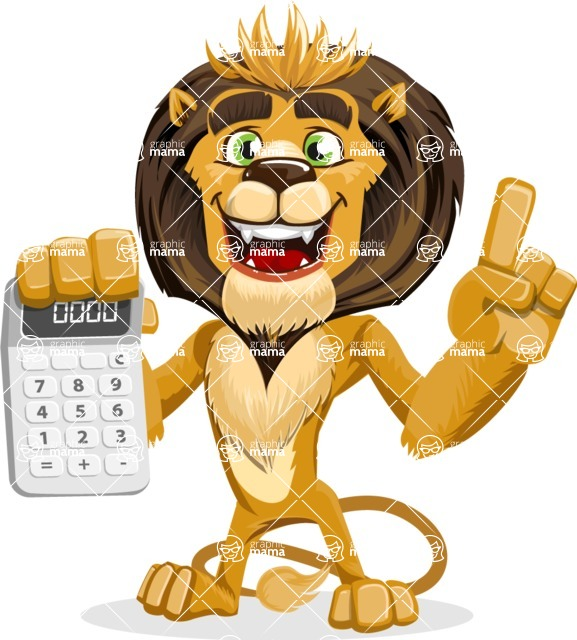 animal lion vector cartoon character pack of poses - Calculator