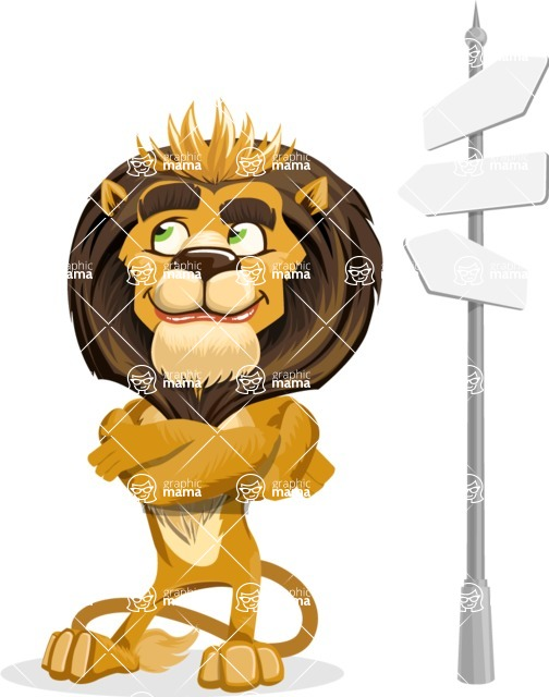 animal lion vector cartoon character pack of poses - Crossroad