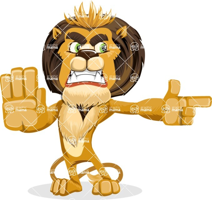 animal lion vector cartoon character pack of poses - Direct Attention 2
