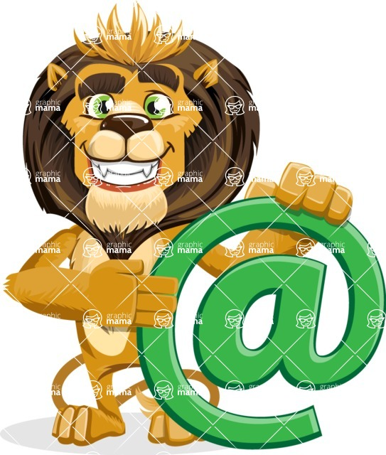 animal lion vector cartoon character pack of poses - Email