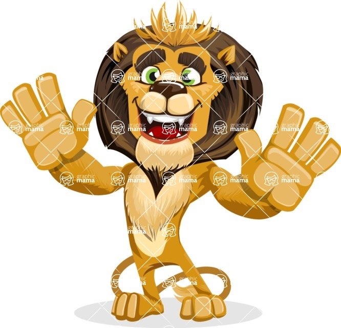 animal lion vector cartoon character pack of poses - Hello