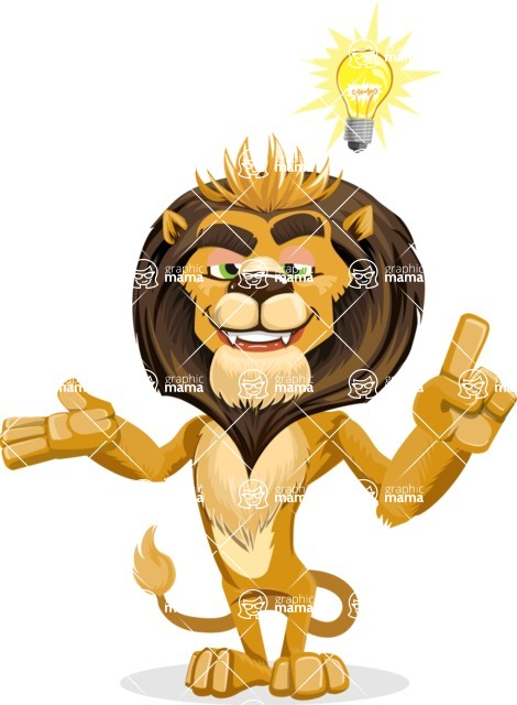 animal lion vector cartoon character pack of poses - Idea 2