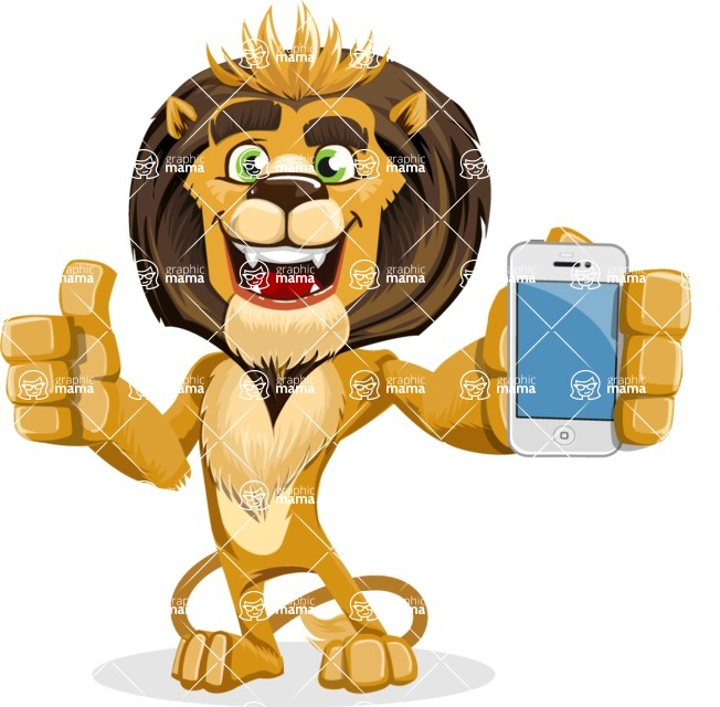 animal lion vector cartoon character pack of poses - iPhone