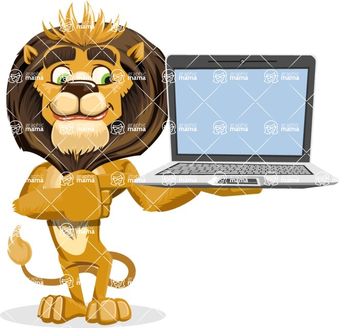 animal lion vector cartoon character pack of poses - Laptop 3