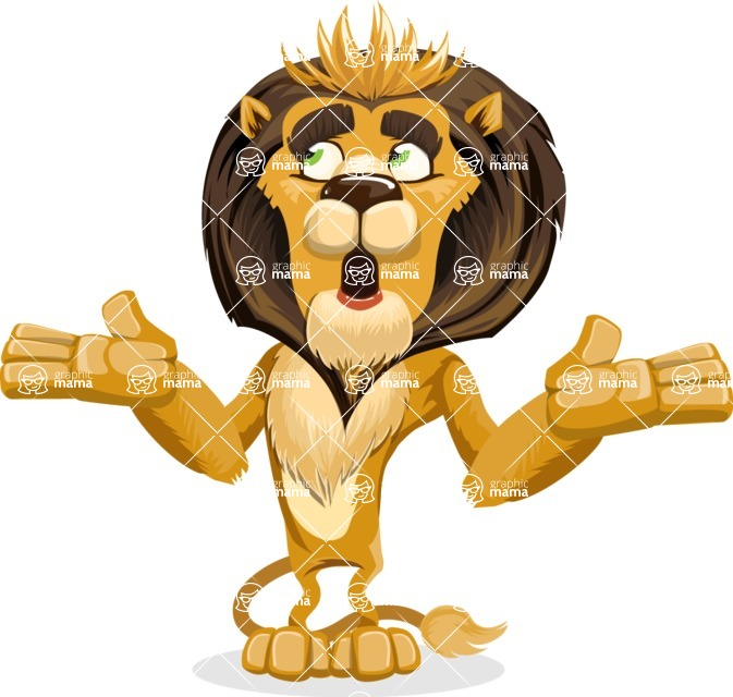animal lion vector cartoon character pack of poses - Lost