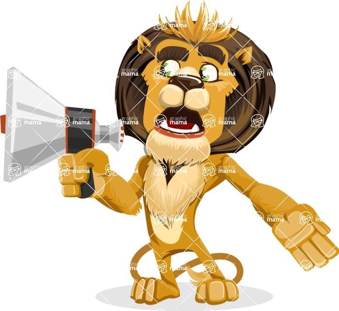 animal lion vector cartoon character pack of poses - Loudspeaker