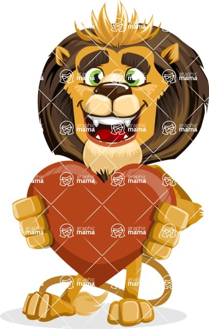 animal lion vector cartoon character pack of poses - Love