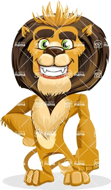 animal lion vector cartoon character pack of poses - Normal