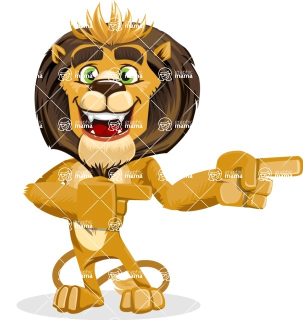 animal lion vector cartoon character pack of poses - Point 2