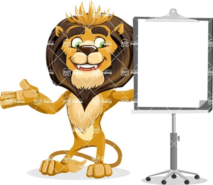 Lion Cartoon Vector Character - Presentation 1