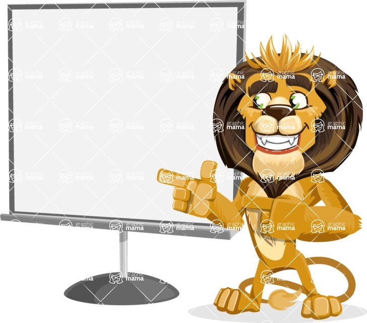 animal lion vector cartoon character pack of poses - Presentation 2