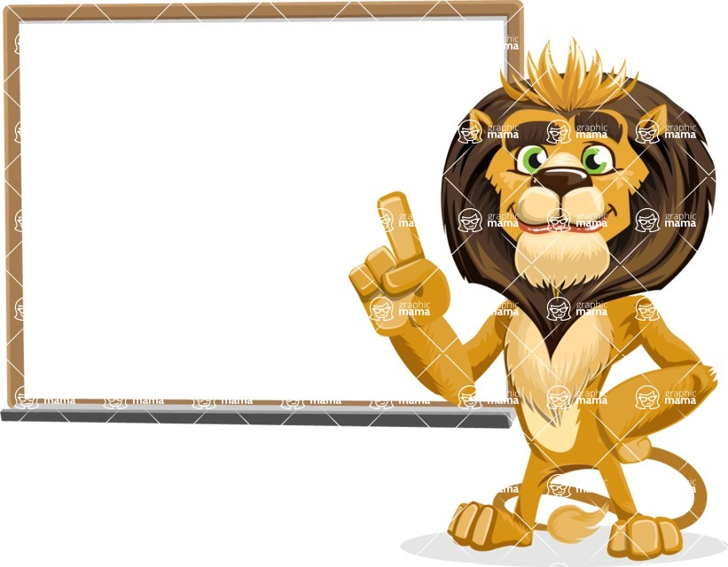 animal lion vector cartoon character pack of poses - Presentation 3