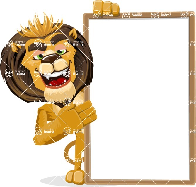 animal lion vector cartoon character pack of poses - Presentation 4