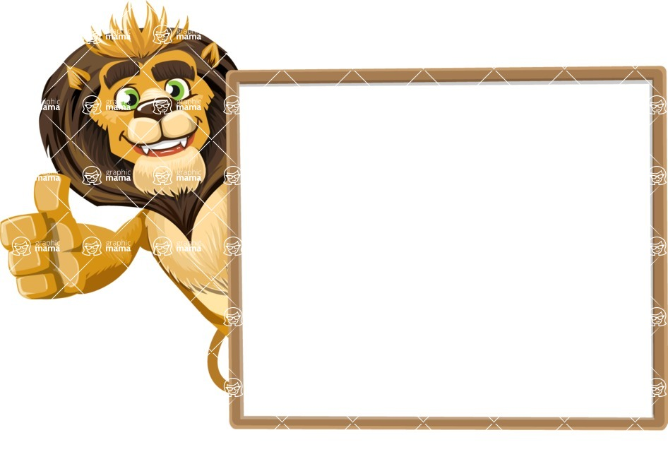 animal lion vector cartoon character pack of poses - Presentation 5