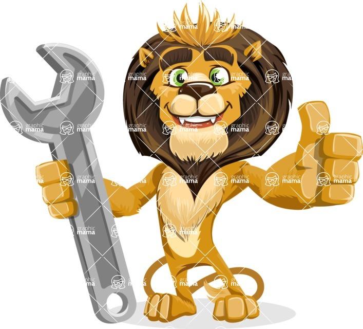 animal lion vector cartoon character pack of poses - Repair