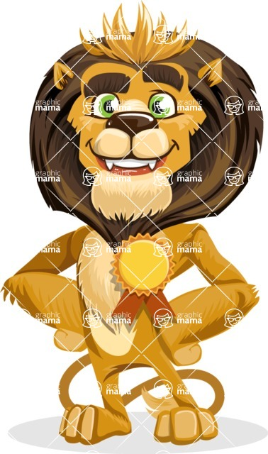 animal lion vector cartoon character pack of poses - Ribbon