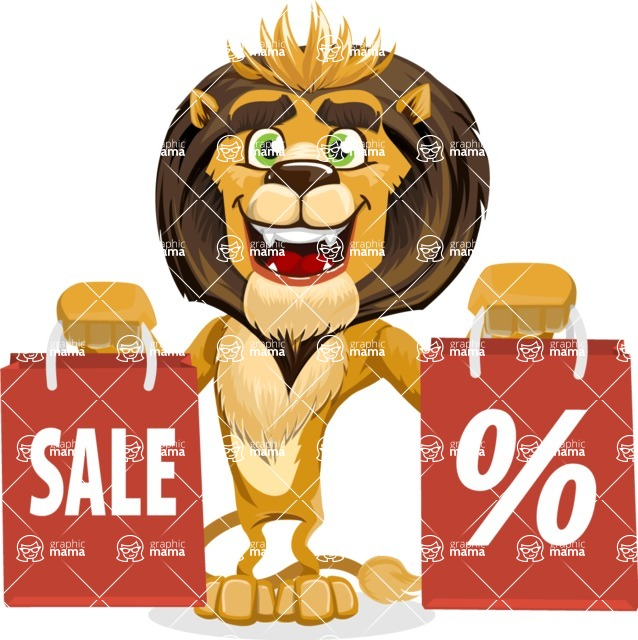 animal lion vector cartoon character pack of poses - Sale 2