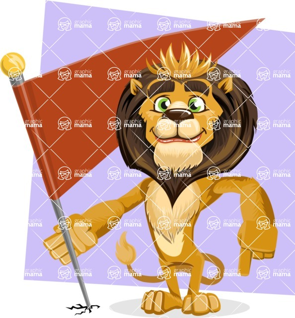 animal lion vector cartoon character pack of poses - Shape 10