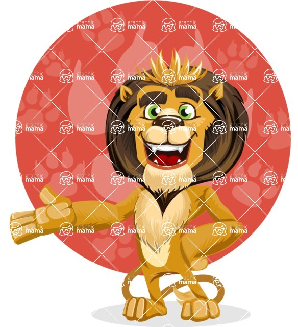 animal lion vector cartoon character pack of poses - Shape 11