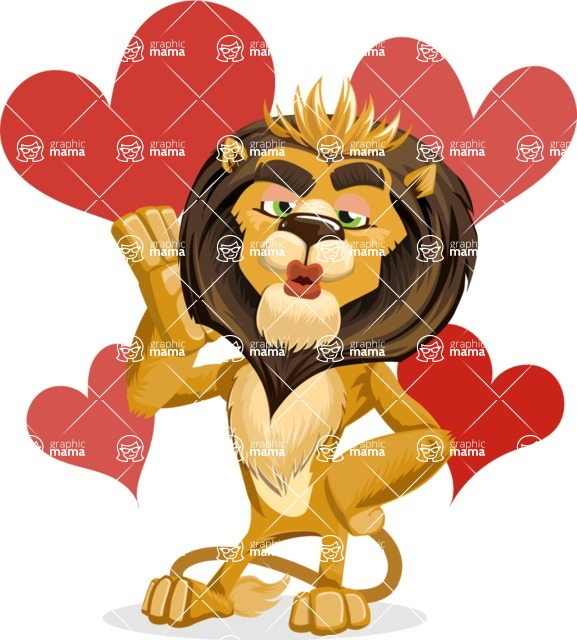 animal lion vector cartoon character pack of poses - Shape 5