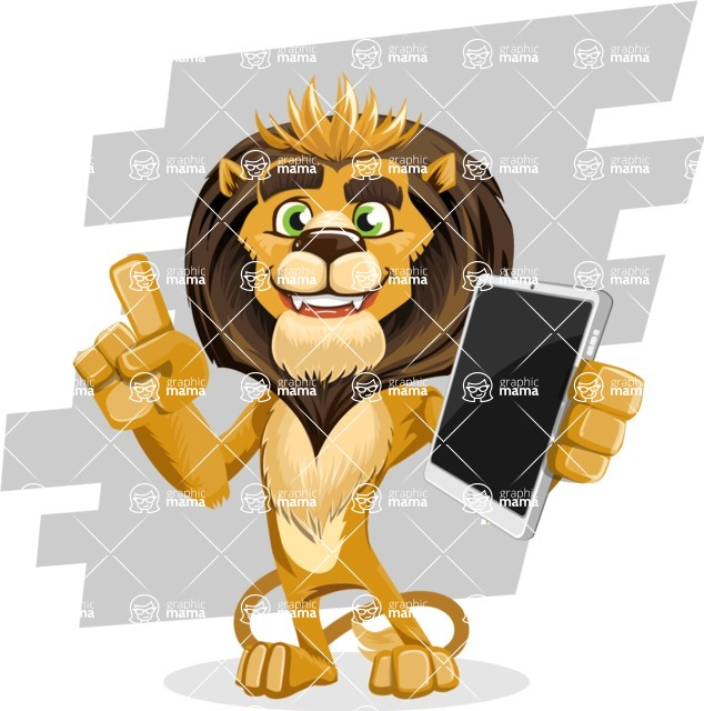 animal lion vector cartoon character pack of poses - Shape 9