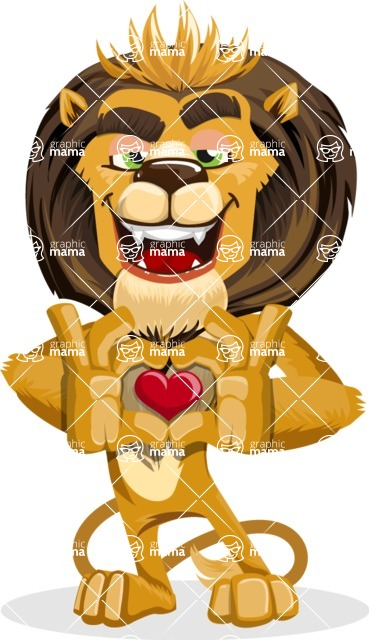 animal lion vector cartoon character pack of poses - Show Love