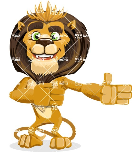 animal lion vector cartoon character pack of poses - Show