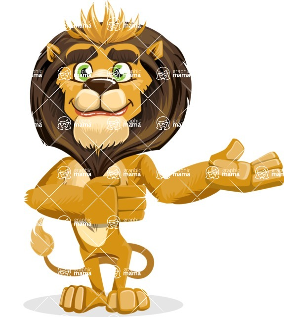 animal lion vector cartoon character pack of poses - Showcase