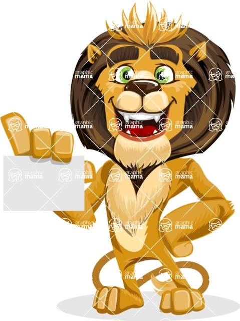 animal lion vector cartoon character pack of poses - Sign 1
