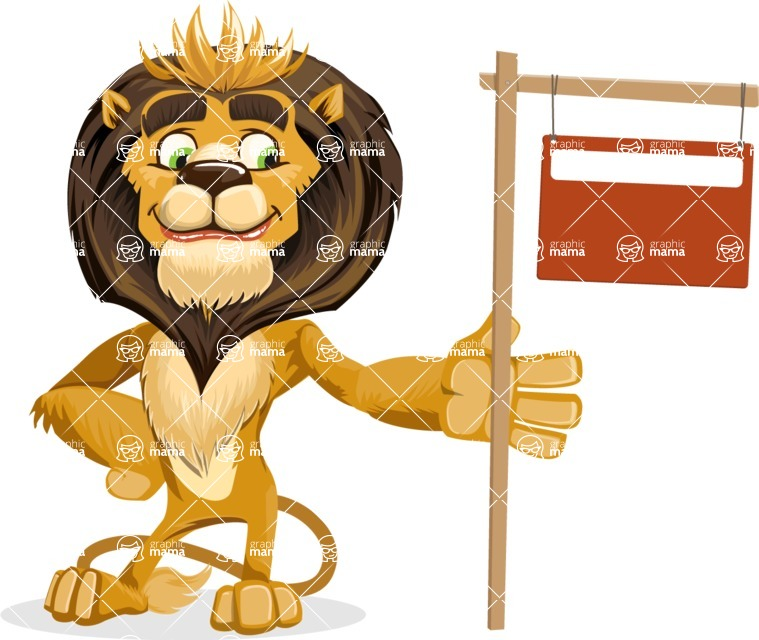 animal lion vector cartoon character pack of poses - Sign 9