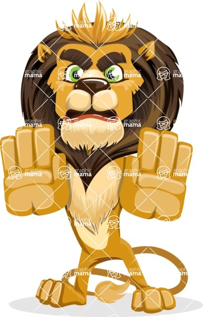 animal lion vector cartoon character pack of poses - Stop 2