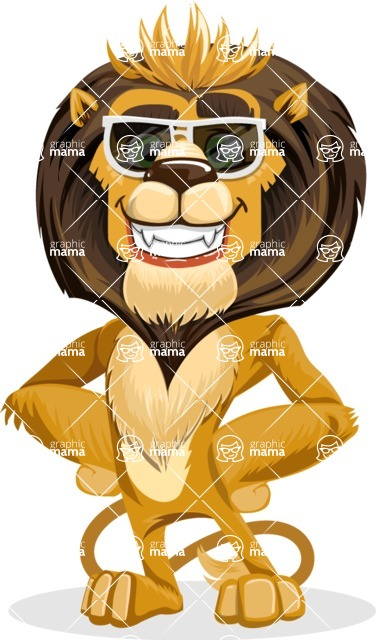 animal lion vector cartoon character pack of poses - Sunglasses