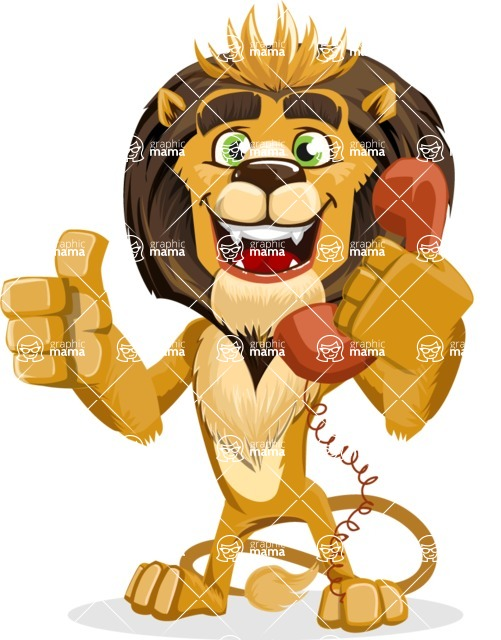 animal lion vector cartoon character pack of poses - Support