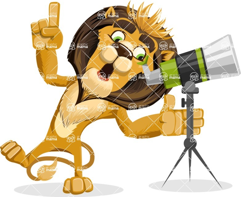 animal lion vector cartoon character pack of poses - Telescope