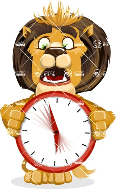 animal lion vector cartoon character pack of poses - Time is Yours