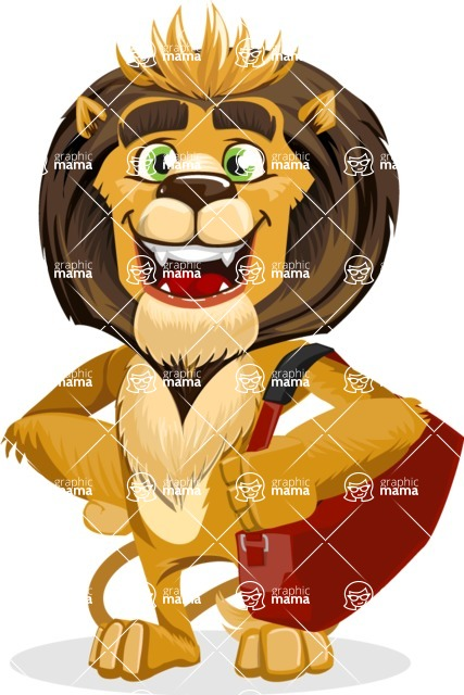 animal lion vector cartoon character pack of poses - Travel 2