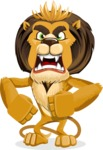 animal lion vector cartoon character pack of poses - Angry