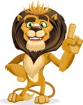animal lion vector cartoon character pack of poses - Attention